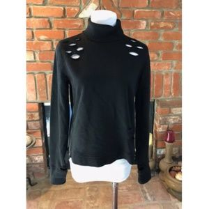 Steampunk Turtleneck Cut Out Zipper Sweatshirt Top